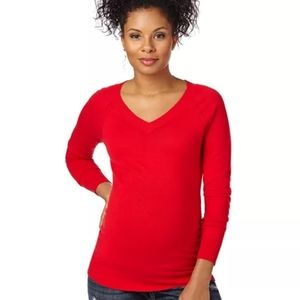 NWT Motherhood Maternity V Neck Ruched Red Sweater